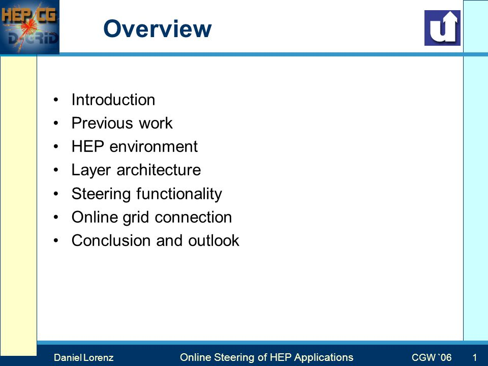Max Mustermann Vortragstitel Veranstaltung Overview Introduction Previous work HEP environment Layer architecture Steering functionality Online grid connection Conclusion and outlook Daniel Lorenz Online Steering of HEP Applications CGW `06 1