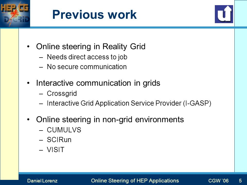 Max Mustermann Vortragstitel Veranstaltung Previous work Online steering in Reality Grid –Needs direct access to job –No secure communication Interactive communication in grids –Crossgrid –Interactive Grid Application Service Provider (I-GASP) Online steering in non-grid environments –CUMULVS –SCIRun –VISIT Daniel Lorenz Online Steering of HEP Applications CGW `06 5