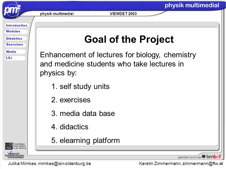 Julika Mimkes, Kerstin Zimmermann, physik multimedial VIEWDET 2003 Introduction Didaktics Modules Media Exercises LiLi Enhancement of lectures for biology, chemistry and medicine students who take lectures in physics by: 1.