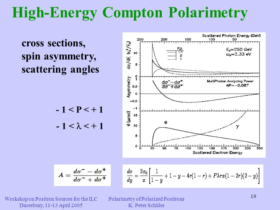 19 - 1 < P < + 1 - 1 < < + 1 High-Energy Compton Polarimetry cross sections, spin asymmetry, scattering angles Workshop on Positron Sources for the ILC Daresbury, 11-13 April 2005 Polarimetry of Polarized Positrons K.