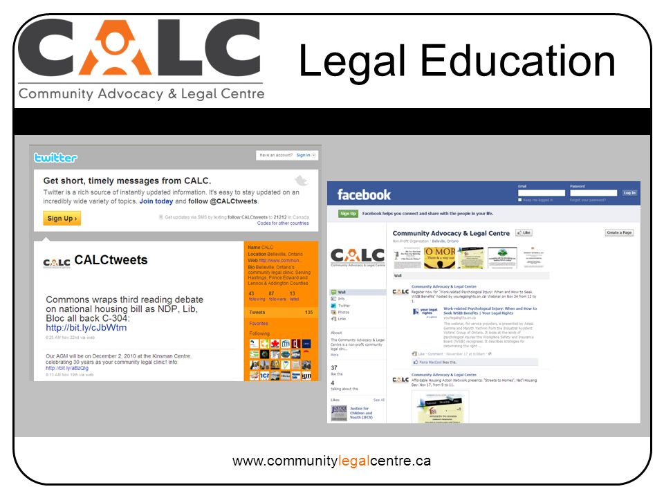 www.communitylegalcentre.ca Legal Education