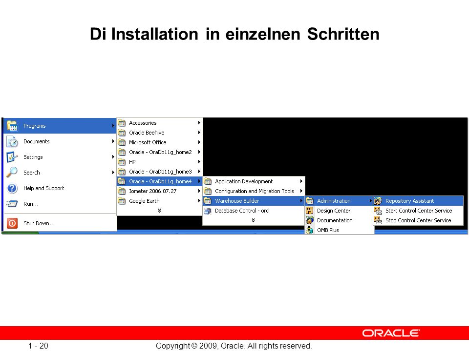 Copyright © 2009, Oracle. All rights reserved Di Installation in einzelnen Schritten