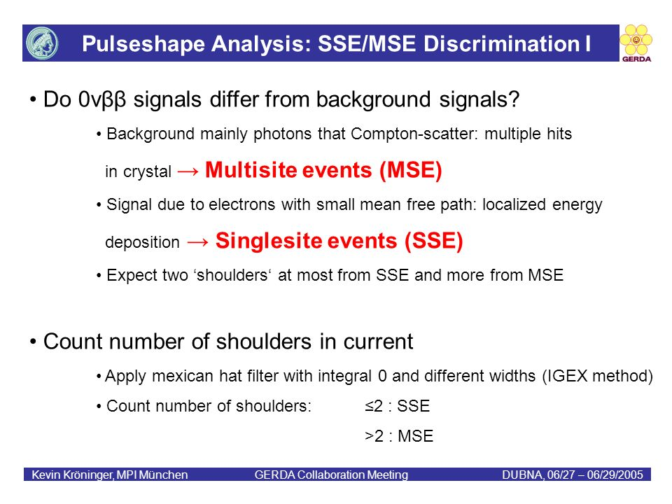 Pulseshape Analysis: SSE/MSE Discrimination I Kevin Kröninger, MPI München GERDA Collaboration MeetingDUBNA, 06/27 – 06/29/2005 Do 0νββ signals differ from background signals.