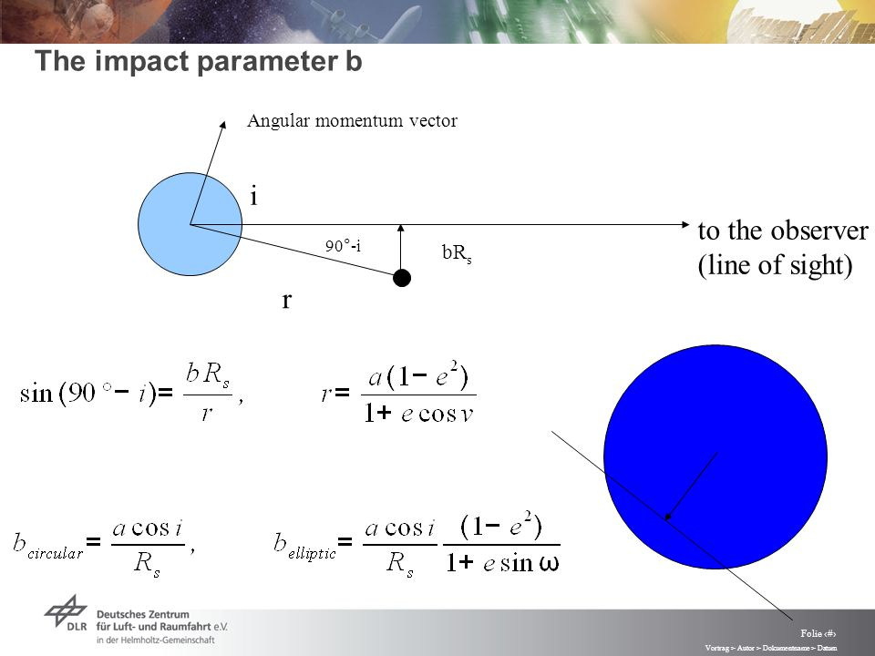 Vortrag > Autor > Dokumentname > Datum Folie 20 The impact parameter b to the observer (line of sight) Angular momentum vector i 90°-i bR s r