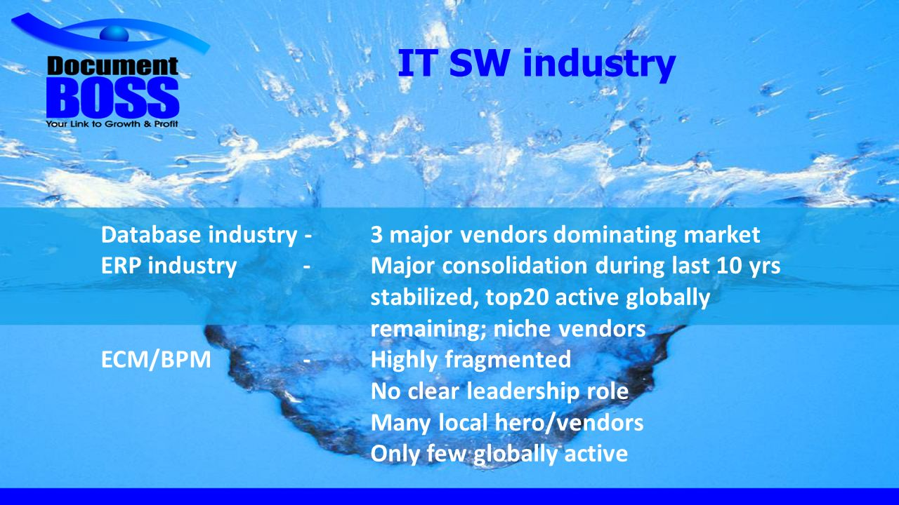 IT SW industry Database industry -3 major vendors dominating market ERP industry-Major consolidation during last 10 yrs stabilized, top20 active globally remaining; niche vendors ECM/BPM-Highly fragmented No clear leadership role Many local hero/vendors Only few globally active