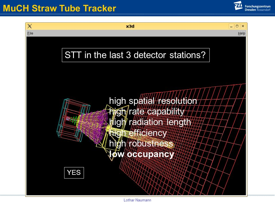 MuCH Straw Tube Tracker Lothar Naumann high spatial resolution high rate capability high radiation length high efficiency high robustness low occupancy STT in the last 3 detector stations.