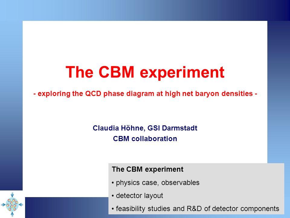 The CBM experiment - exploring the QCD phase diagram at high net baryon densities - Claudia Höhne, GSI Darmstadt CBM collaboration The CBM experiment physics case, observables detector layout feasibility studies and R&D of detector components