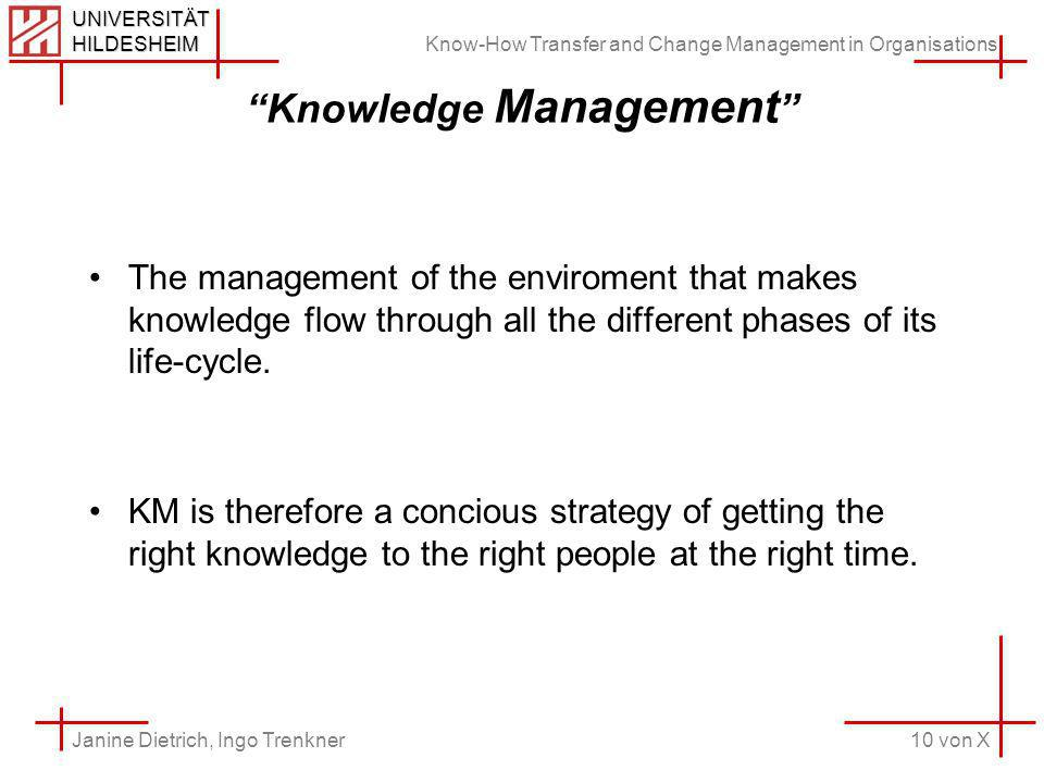 Know-How Transfer and Change Management in Organisations 10 von X Janine Dietrich, Ingo Trenkner UNIVERSITÄT HILDESHEIM Knowledge Management The management of the enviroment that makes knowledge flow through all the different phases of its life-cycle.