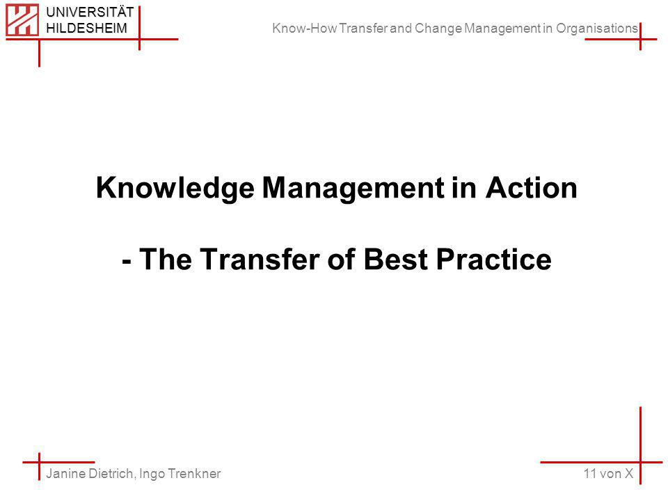 Know-How Transfer and Change Management in Organisations 11 von X Janine Dietrich, Ingo Trenkner UNIVERSITÄT HILDESHEIM Knowledge Management in Action - The Transfer of Best Practice