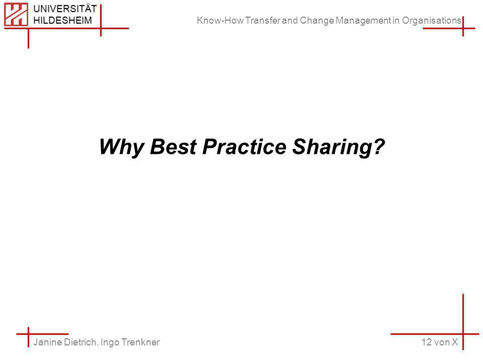 Know-How Transfer and Change Management in Organisations 12 von X Janine Dietrich, Ingo Trenkner UNIVERSITÄT HILDESHEIM Why Best Practice Sharing
