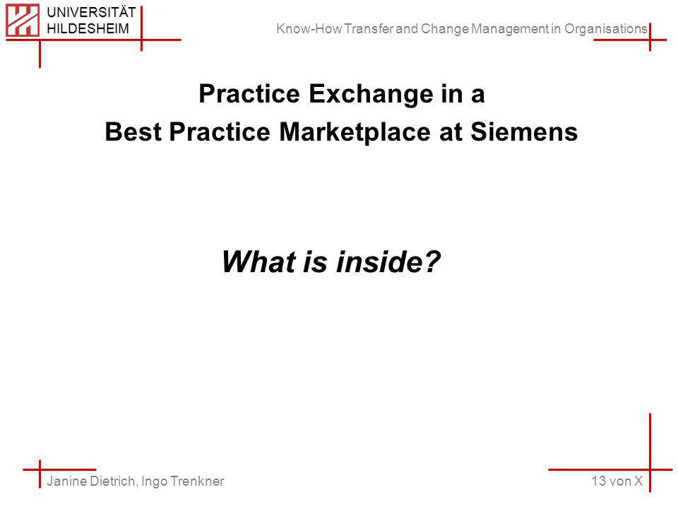 Know-How Transfer and Change Management in Organisations 13 von X Janine Dietrich, Ingo Trenkner UNIVERSITÄT HILDESHEIM Practice Exchange in a Best Practice Marketplace at Siemens What is inside