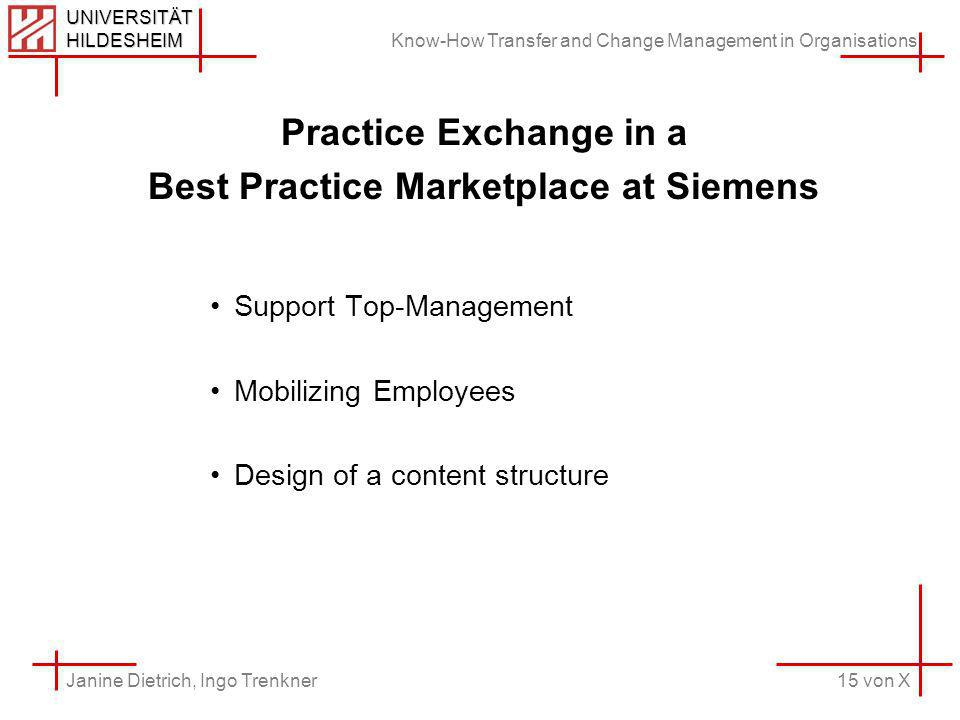 Know-How Transfer and Change Management in Organisations 15 von X Janine Dietrich, Ingo Trenkner UNIVERSITÄT HILDESHEIM Practice Exchange in a Best Practice Marketplace at Siemens Support Top-Management Mobilizing Employees Design of a content structure