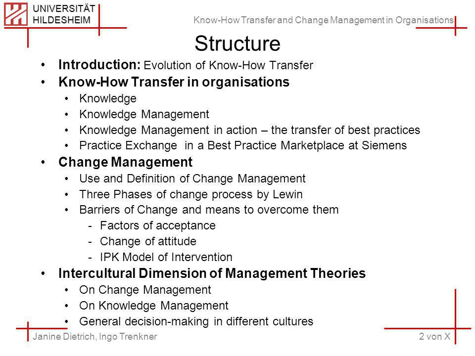 Know-How Transfer and Change Management in Organisations 2 von X Janine Dietrich, Ingo Trenkner UNIVERSITÄT HILDESHEIM Structure Introduction: Evolution of Know-How Transfer Know-How Transfer in organisations Knowledge Knowledge Management Knowledge Management in action – the transfer of best practices Practice Exchange in a Best Practice Marketplace at Siemens Change Management Use and Definition of Change Management Three Phases of change process by Lewin Barriers of Change and means to overcome them -Factors of acceptance -Change of attitude -IPK Model of Intervention Intercultural Dimension of Management Theories On Change Management On Knowledge Management General decision-making in different cultures