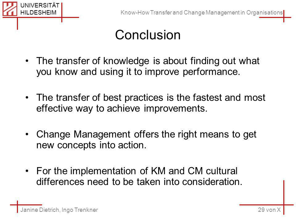 Know-How Transfer and Change Management in Organisations 29 von X Janine Dietrich, Ingo Trenkner UNIVERSITÄT HILDESHEIM Conclusion The transfer of knowledge is about finding out what you know and using it to improve performance.