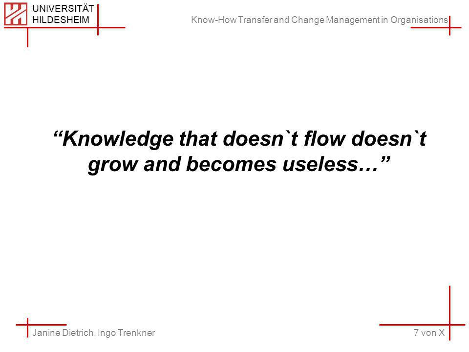 Know-How Transfer and Change Management in Organisations 7 von X Janine Dietrich, Ingo Trenkner UNIVERSITÄT HILDESHEIM Knowledge that doesn`t flow doesn`t grow and becomes useless…