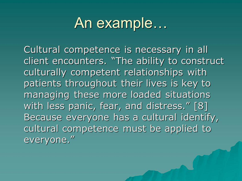 An example… Cultural competence is necessary in all client encounters.