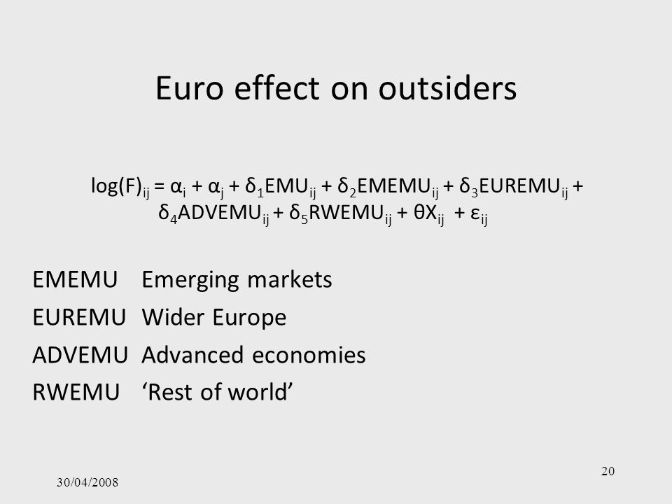 Euro effect on outsiders 30/04/2008 20 EMEMUEmerging markets EUREMUWider Europe ADVEMUAdvanced economies RWEMURest of world log(F) ij = α i + α j + δ 1 EMU ij + δ 2 EMEMU ij + δ 3 EUREMU ij + δ 4 ADVEMU ij + δ 5 RWEMU ij + θX ij + ε ij