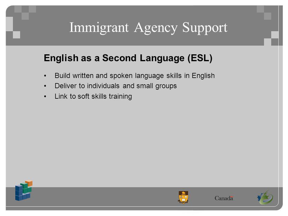 English as a Second Language (ESL) Build written and spoken language skills in English Deliver to individuals and small groups Link to soft skills training