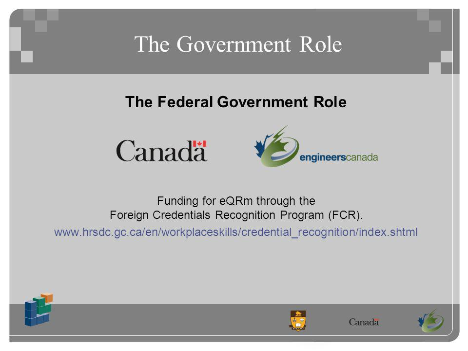 The Government Role Funding for eQRm through the Foreign Credentials Recognition Program (FCR).