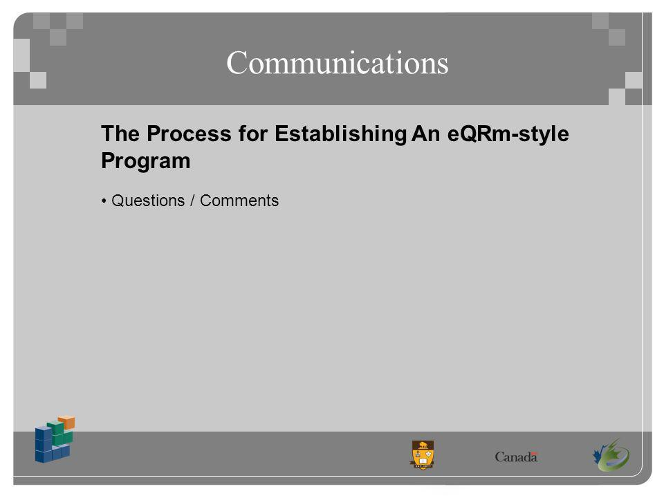 Communications The Process for Establishing An eQRm-style Program Questions / Comments
