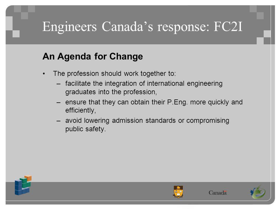 Engineers Canadas response: FC2I An Agenda for Change The profession should work together to: –facilitate the integration of international engineering graduates into the profession, –ensure that they can obtain their P.Eng.