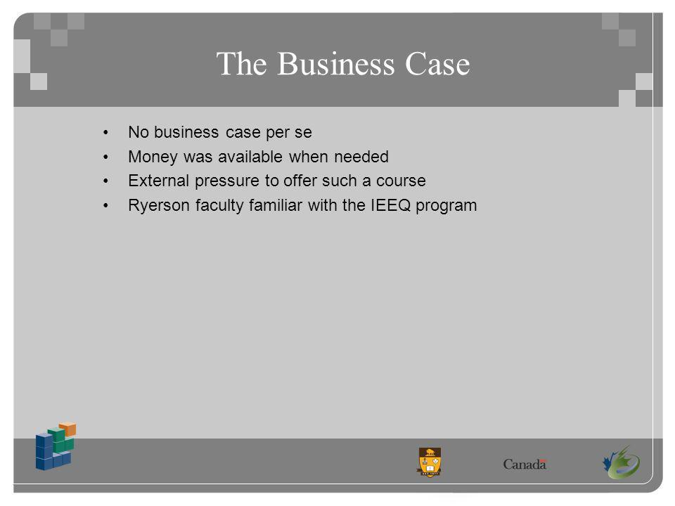 The Business Case No business case per se Money was available when needed External pressure to offer such a course Ryerson faculty familiar with the IEEQ program