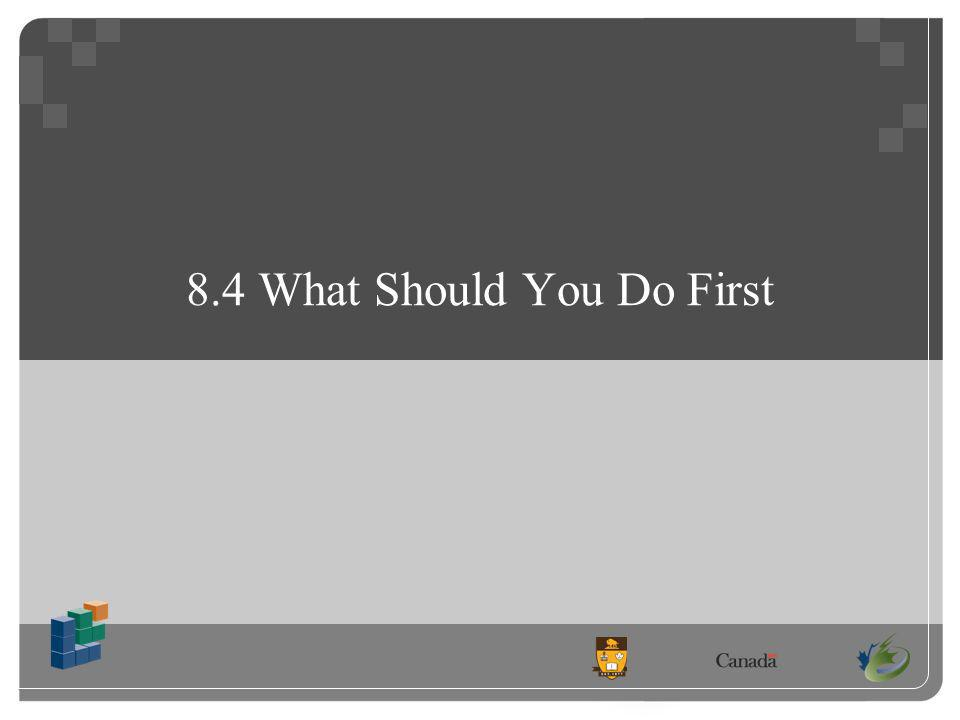 8.4 What Should You Do First
