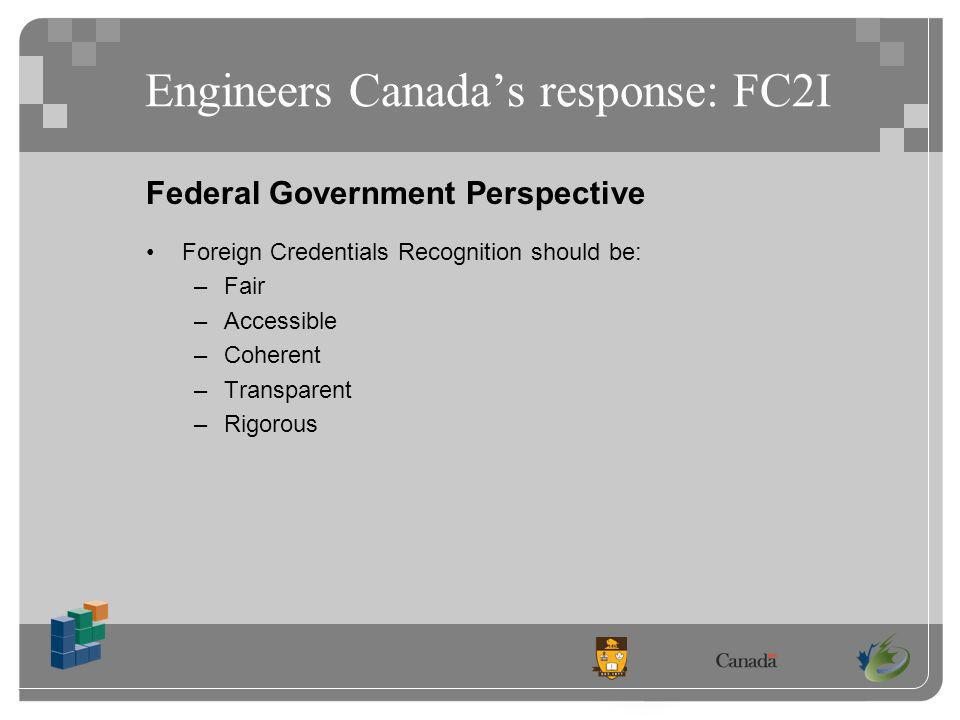 Engineers Canadas response: FC2I Federal Government Perspective Foreign Credentials Recognition should be: –Fair –Accessible –Coherent –Transparent –Rigorous