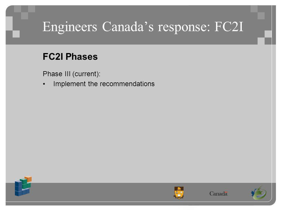 Engineers Canadas response: FC2I FC2I Phases Phase III (current): Implement the recommendations