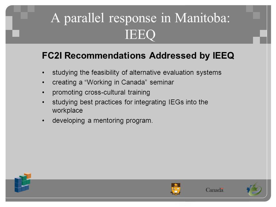 A parallel response in Manitoba: IEEQ FC2I Recommendations Addressed by IEEQ studying the feasibility of alternative evaluation systems creating a Working in Canada seminar promoting cross-cultural training studying best practices for integrating IEGs into the workplace developing a mentoring program.