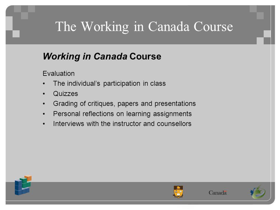 The Working in Canada Course Working in Canada Course Evaluation The individuals participation in class Quizzes Grading of critiques, papers and presentations Personal reflections on learning assignments Interviews with the instructor and counsellors