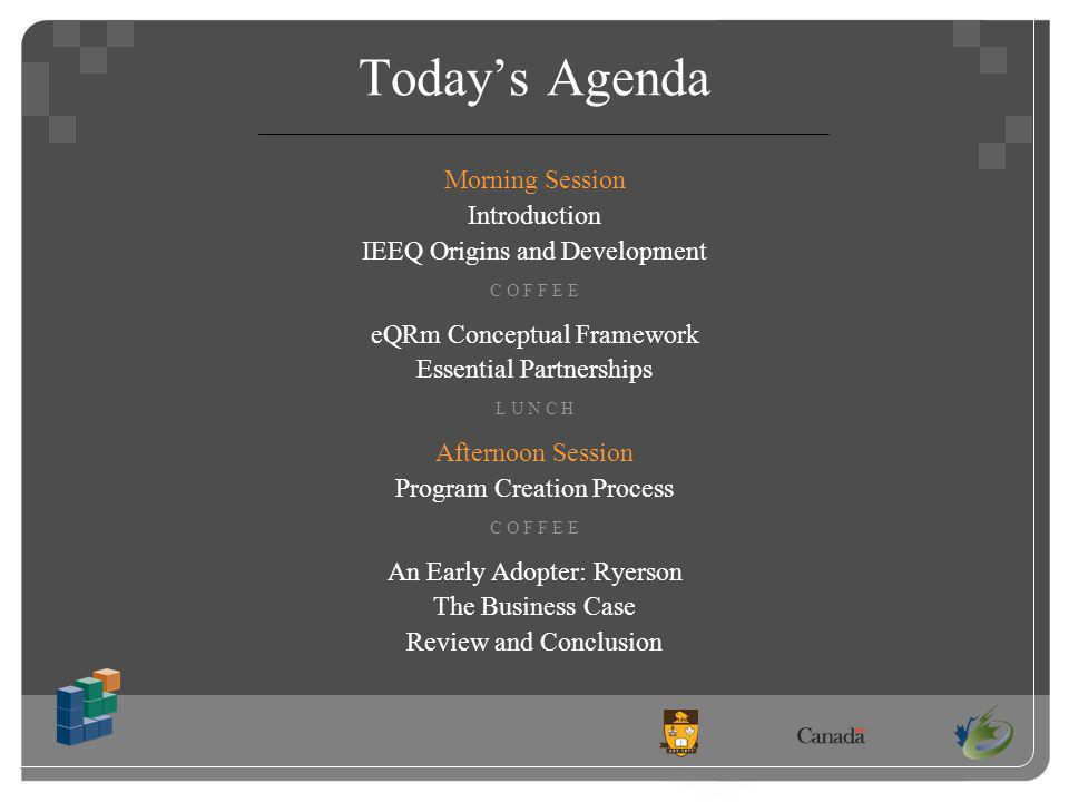 Todays Agenda Morning Session Introduction IEEQ Origins and Development C O F F E E eQRm Conceptual Framework Essential Partnerships L U N C H Afternoon Session Program Creation Process C O F F E E An Early Adopter: Ryerson The Business Case Review and Conclusion