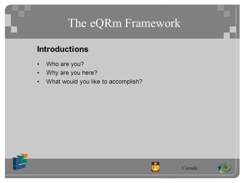 The eQRm Framework Introductions Who are you Why are you here What would you like to accomplish