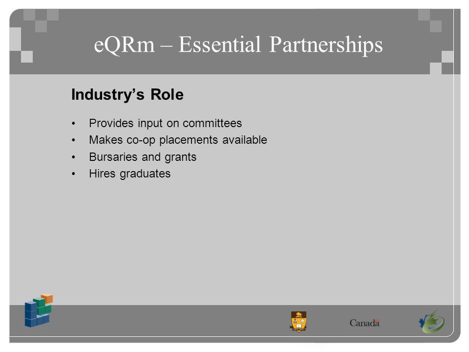 eQRm – Essential Partnerships Industrys Role Provides input on committees Makes co-op placements available Bursaries and grants Hires graduates