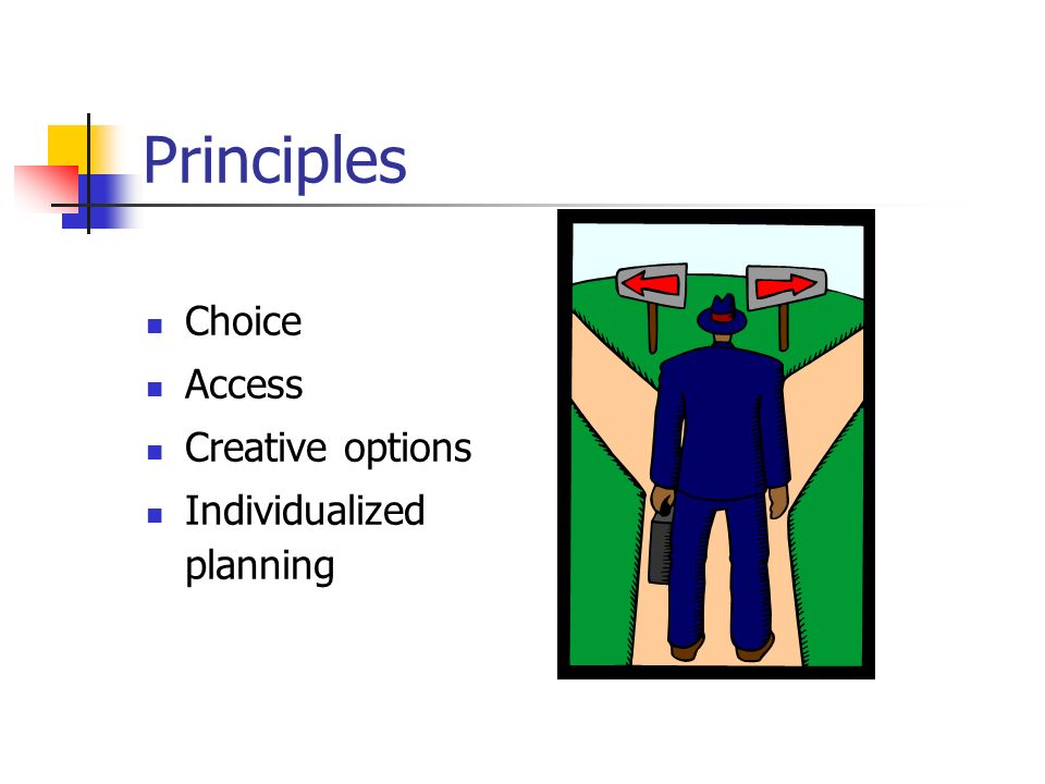 Principles Choice Access Creative options Individualized planning