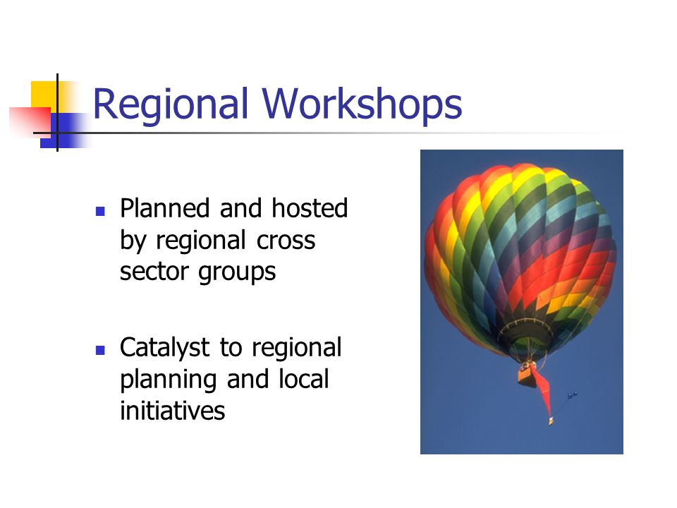 Regional Workshops Planned and hosted by regional cross sector groups Catalyst to regional planning and local initiatives