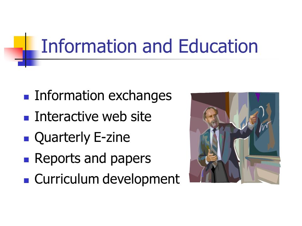 Information and Education Information exchanges Interactive web site Quarterly E-zine Reports and papers Curriculum development