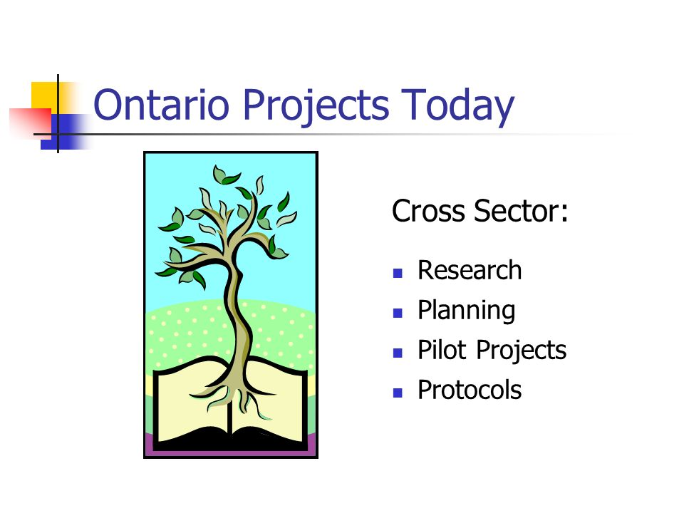 Ontario Projects Today Cross Sector: Research Planning Pilot Projects Protocols