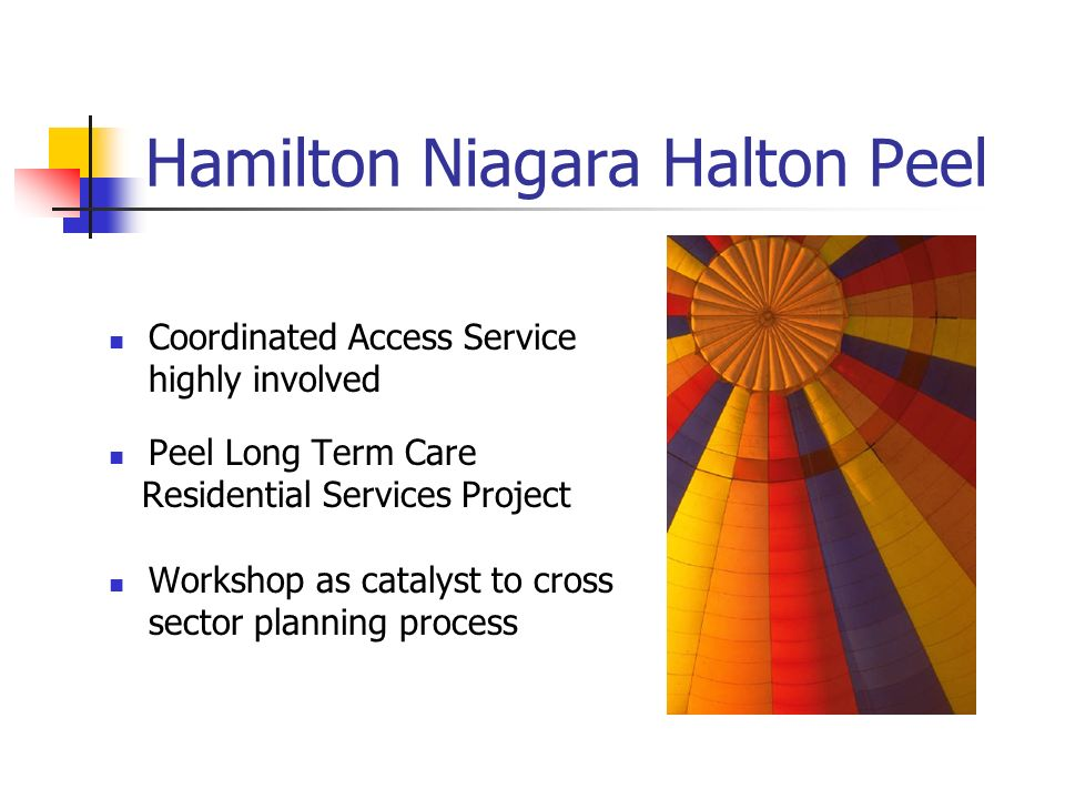 Hamilton Niagara Halton Peel Coordinated Access Service highly involved Peel Long Term Care Residential Services Project Workshop as catalyst to cross sector planning process