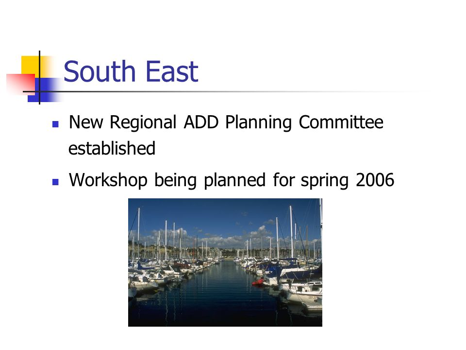 South East New Regional ADD Planning Committee established Workshop being planned for spring 2006