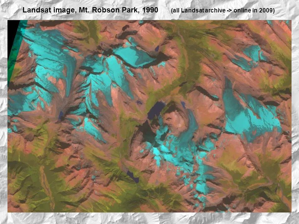 Landsat image, Mt. Robson Park, 1990 (all Landsat archive -> online in 2009)