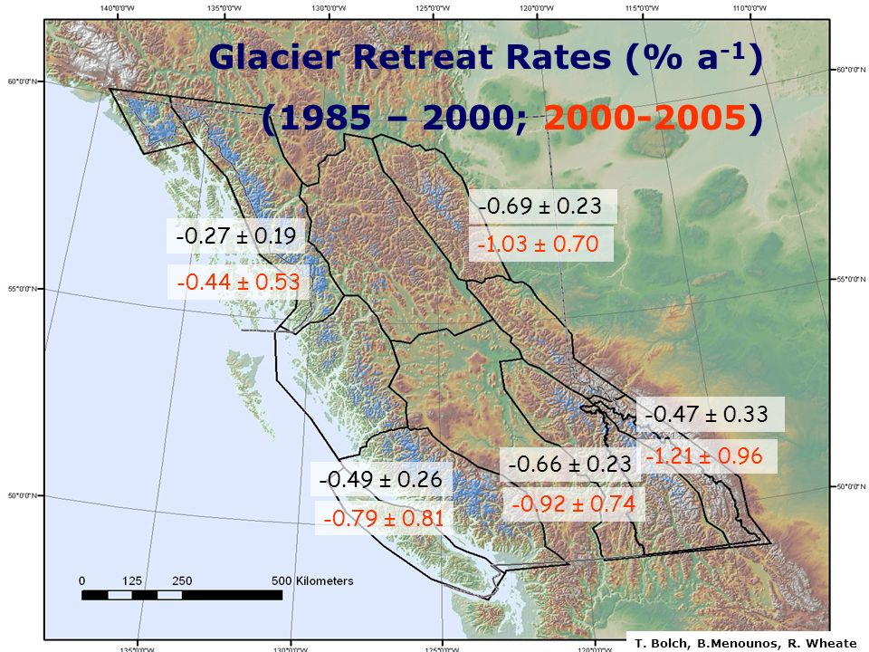 Glacier Retreat Rates (% a -1 ) (1985 – 2000; ) ± ± ± ± ± 0.33 T.