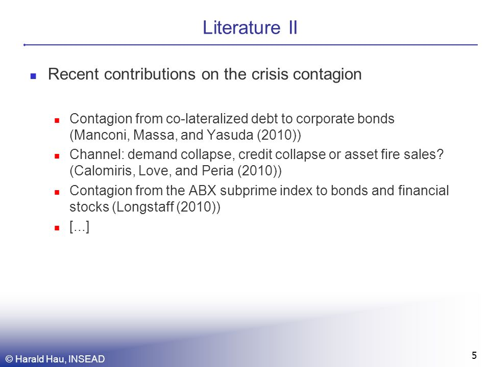 Literature II Recent contributions on the crisis contagion Contagion from co-lateralized debt to corporate bonds (Manconi, Massa, and Yasuda (2010)) Channel: demand collapse, credit collapse or asset fire sales.