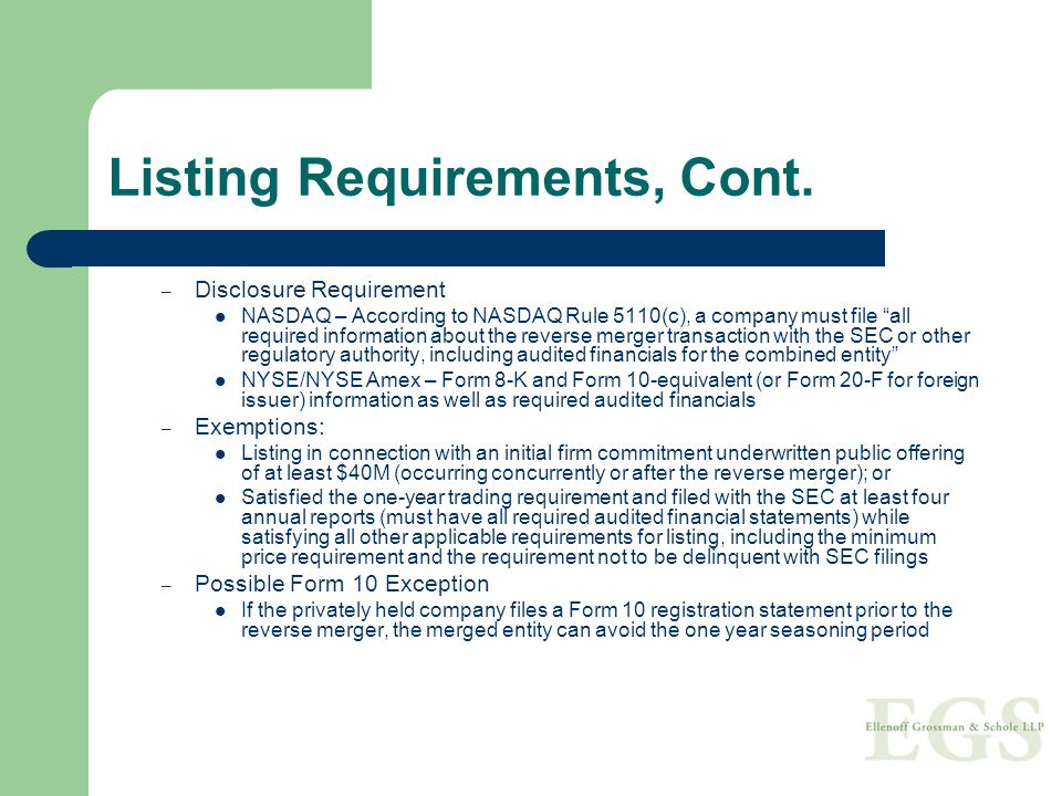 Listing Requirements, Cont.