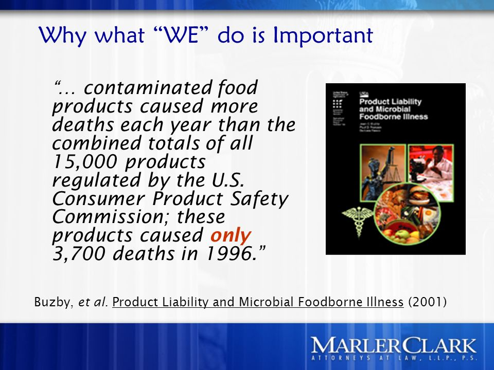 Why what WE do is Important … contaminated food products caused more deaths each year than the combined totals of all 15,000 products regulated by the U.S.