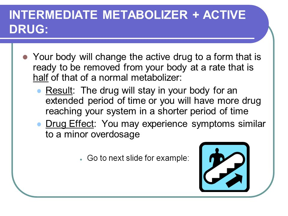 INTERMEDIATE METABOLIZER + ACTIVE DRUG: Your body will change the active drug to a form that is ready to be removed from your body at a rate that is half of that of a normal metabolizer: Result: The drug will stay in your body for an extended period of time or you will have more drug reaching your system in a shorter period of time Drug Effect: You may experience symptoms similar to a minor overdosage Go to next slide for example: