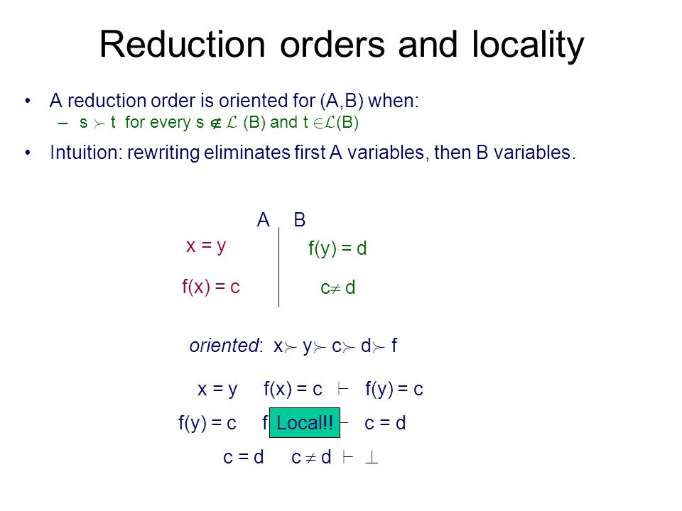 Reduction orders and locality A reduction order is oriented for (A,B) when: –s  t for every s L (B) and t 2L (B) Intuition: rewriting eliminates first A variables, then B variables.