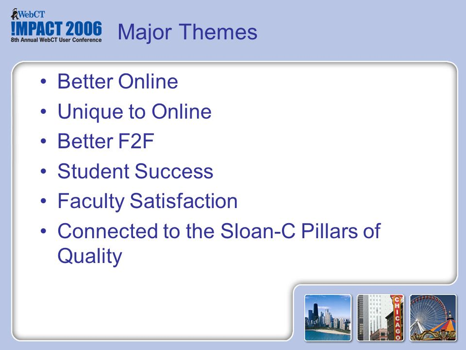 Major Themes Better Online Unique to Online Better F2F Student Success Faculty Satisfaction Connected to the Sloan-C Pillars of Quality