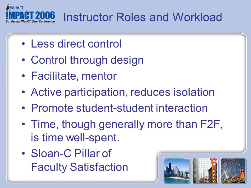 Instructor Roles and Workload Less direct control Control through design Facilitate, mentor Active participation, reduces isolation Promote student-student interaction Time, though generally more than F2F, is time well-spent.