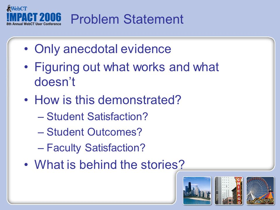 Problem Statement Only anecdotal evidence Figuring out what works and what doesnt How is this demonstrated.